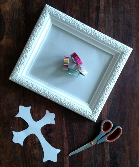 Cross, scissors, washi tape, frame, spring decor, diy, easter, jesus