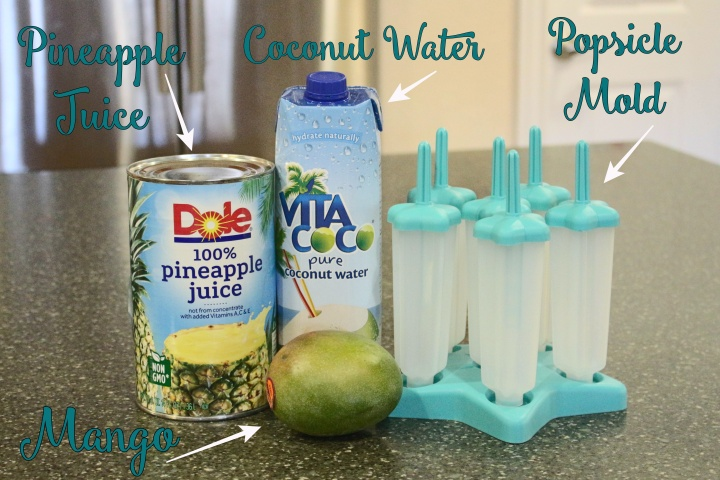 Pineapple juice, coconut water, mango, popsicle mold